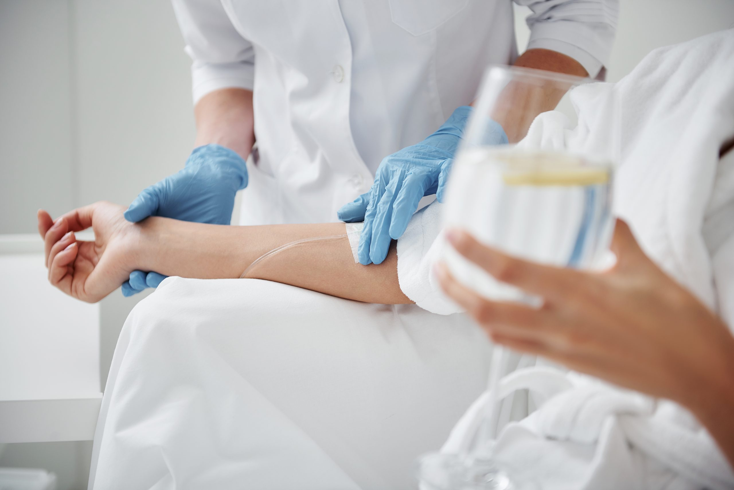 IV Therapy treatment with patient